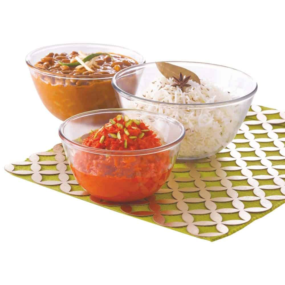 Borosil - IYECSB03NL5913 Glass Mixing Bowl - Set of 3 (500 ML + 900 ML + 1.3L) Oven and Microwave Safe-min