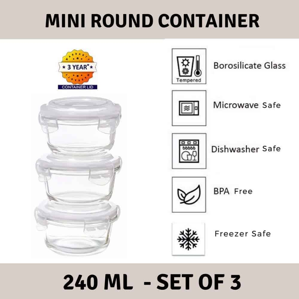 Femora Borosilicate Glass Microwave Safe Mini Round Container with Air Tight Air Vent Lid, 240 ML, Set of 3-min