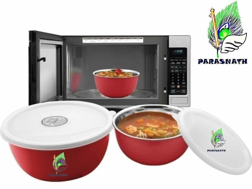 Parasnath Microwave Safe Stanless Steel Euro Lid Bowl Set 3 Bowl Set-16,18 and 20 cms-min