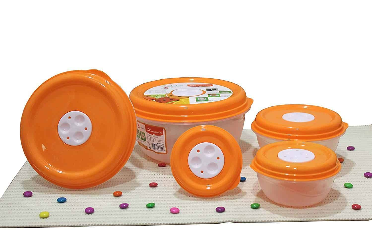 Princeware Fresh Ven Bowl Package Container Set, 5-Pieces, Orange-min