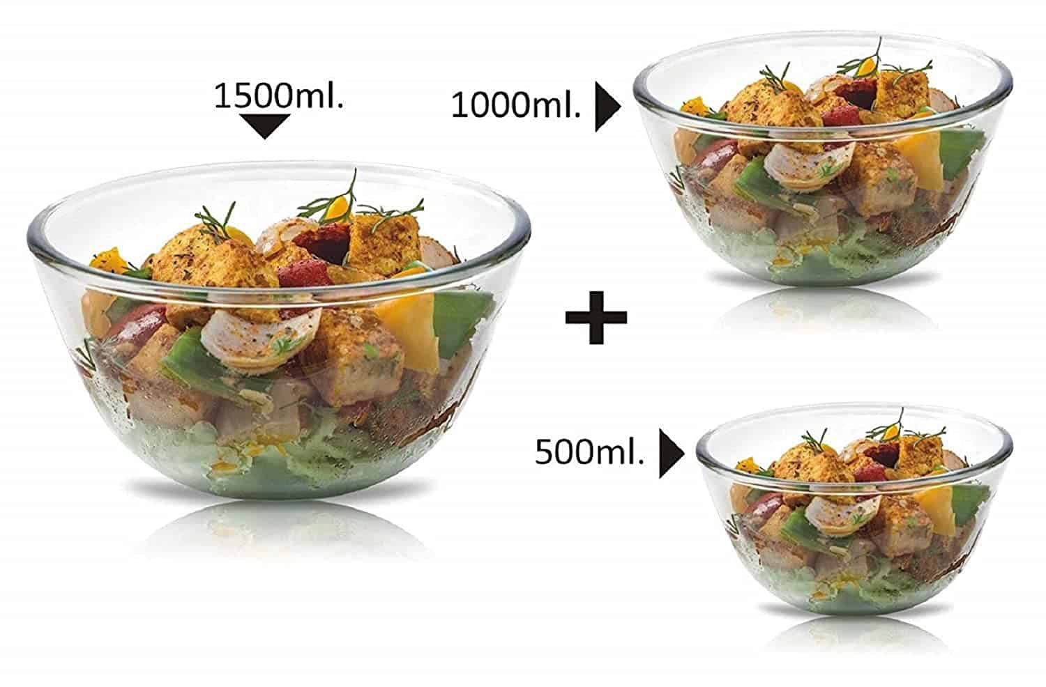 SignoraWare Mixing Bowl Borosilicate Glass, Set of 3, (500ml+1000ml+1500ml), Clear-min